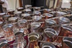 Τουρκικά δοχεία καφέ - cezves Στοκ Φωτογραφίες