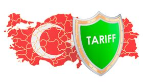 Τουρκικά προστατευτικά δασμολόγια για την έννοια λιρετών, τρισδιάστατη απόδοση Στοκ Εικόνα