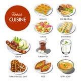Τουρκικά τρόφιμα κουζίνας και παραδοσιακά πιάτα απεικόνιση αποθεμάτων