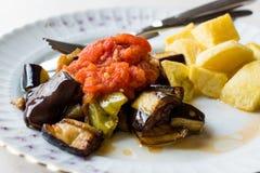 Τουρκικά τρόφιμα Kizartma/τηγανισμένες φέτες μελιτζανών ή μελιτζάνας με τις πατάτες σάλτσας και κύβων Salsa τοματοπολτών στοκ φωτογραφία με δικαίωμα ελεύθερης χρήσης