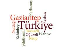 Τουρκικές υποδιαιρέσεις Gaziantep πόλεων στα σύννεφα λέξης Στοκ Εικόνες