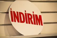Τουρκική έκπτωση Indirim στοκ φωτογραφία με δικαίωμα ελεύθερης χρήσης