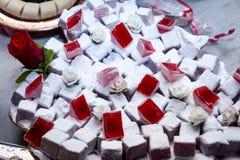 Τουρκική απόλαυση με τη γεύση τριαντάφυλλων Στοκ Εικόνες