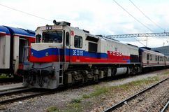 Τουρκική ηλεκτρική ατμομηχανή diesel σιδηροδρόμων για το σαφές τραίνο Dogu στην Άγκυρα Τουρκία στοκ εικόνες