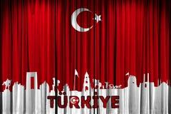 Τουρκική προώθηση σχεδίου σημαιών, γιορτής και εορτασμού απεικόνιση αποθεμάτων