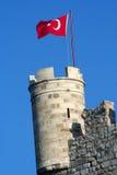 Τουρκική σημαία στο κάστρο st.peter Στοκ φωτογραφίες με δικαίωμα ελεύθερης χρήσης