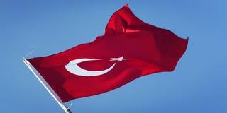 Τουρκική σημαία στο μπλε ουρανό ηλικίας φωτογραφία Σημαία της Τουρκίας Στοκ εικόνα με δικαίωμα ελεύθερης χρήσης