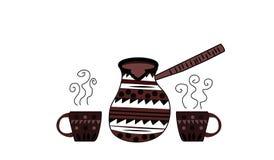 Τουρκικό δοχείο coffe με δύο μικρά φλυτζάνια ελεύθερη απεικόνιση δικαιώματος
