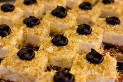 Τουρκικό επιδόρπιο με τη μαύρη σοκολάτα και την άσπρη κρέμα Τεμαχισμένος cak Στοκ εικόνες με δικαίωμα ελεύθερης χρήσης