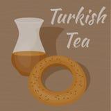Τουρκικό κύπελλο τσαγιού με παραδοσιακό bagel διανυσματική απεικόνιση