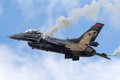 Τουρκικό Πολεμικής Αεροπορίας γεράκι 91-0011 πάλης δυναμικής Τούρκου Hava Kuvvetleri γενικό φ-16CG της σόλο ομάδας επίδειξης Τούρ Στοκ Εικόνες