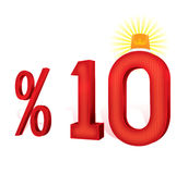 % 10 τουρκικό ποσοστό κλίμακας έκπτωσης τοις εκατό δέκα Στοκ Εικόνες