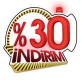 % 30 τουρκικό ποσοστό κλίμακας έκπτωσης τοις εκατό τριάντα στοκ εικόνες