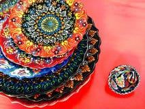 Τουρκικό τυπωμένο χέρι πιάτο Στοκ Εικόνα