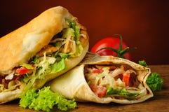 Τουρκικό doner kebab και shawarma Στοκ Φωτογραφία