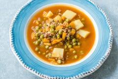 Τουρκικό Stew πράσινων μπιζελιών τροφίμων/μαγειρευμένος κιμάς Etli Bezelye στοκ φωτογραφίες