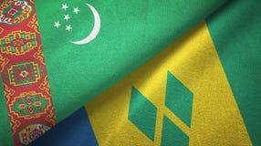 Τουρκμενιστάν και Άγιος Βικέντιος και Γρεναδίνες δύο υφαντικό ύφασμα σημαιών απεικόνιση αποθεμάτων