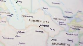 Τουρκμενιστάν σε έναν χάρτη απόθεμα βίντεο