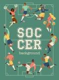 Τους ποδοσφαιριστές και τις μαζορέτες ποδοσφαίρου καθορισμένους τις αφίσες της διανυσματικής απεικόνισης χαρακτήρων απεικόνιση αποθεμάτων