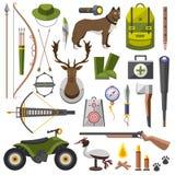 Τουφέκι εξαρτήσεων εξοπλισμού κυνηγιού, μαχαίρι, καπέλο, κοστούμι, κυνηγετικό όπλο, μπότες, δόλωμα, προστασία, αντιστοιχίες, μια  Στοκ Εικόνες