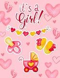 Του ένα σχέδιο καρτών ντους μωρών κοριτσιών Συρμένη χέρι απεικόνιση watercolor με τις πλαστές λείες καρδιών και τη μεταφορά μωρών διανυσματική απεικόνιση