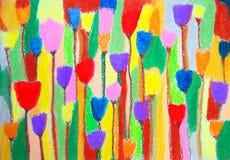 Τουλίπες αφηρημένη ζωγραφική χρώματο συρμένες γυναίκες απεικόνισης s χεριών προσώπου ελεύθερη απεικόνιση δικαιώματος