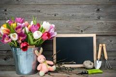 Τουλίπες σε έναν κάδο μετάλλων με τα εργαλεία κηπουρικής Στοκ φωτογραφίες με δικαίωμα ελεύθερης χρήσης