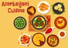 Του Αζερμπαϊτζάν γεύμα κουζίνας με το εικονίδιο επιδορπίων διανυσματική απεικόνιση