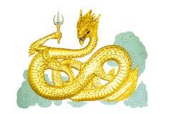 του 2012 καρτών νέο διανυσματικό έτος απεικόνισης δράκων χρυσό Στοκ εικόνες με δικαίωμα ελεύθερης χρήσης