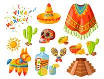 Του Μεξικού εικονιδίων διανυσματικό απεικόνισης παραδοσιακό γραφικό ταξιδιού tequila οινοπνεύματος γιορτής ποτών σομπρέρο maraca  διανυσματική απεικόνιση