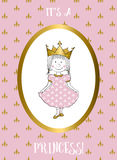 Του μια κάρτα κοριτσιών με τη μικρή πριγκήπισσα Στοκ εικόνες με δικαίωμα ελεύθερης χρήσης