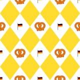 Του Μόναχου μπύρας σημαιών και pretzels φεστιβάλ άνευ ραφής σχέδιο Υπόβαθρο Oktoberfet, διανυσματική απεικόνιση Στοκ Εικόνες