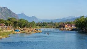 Του χωριού άποψη Vieng Vang, Λάος Στοκ Εικόνες