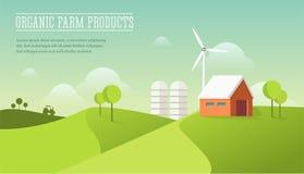 Του χωριού απεικόνιση Eco Έννοια οργανικής καλλιέργειας Σύγχρονο επίπεδο ύφος σχεδίου Σπίτι σιταποθηκών στον τομέα με τον ανεμόμυ Στοκ Φωτογραφία