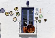 Του χωριού μπαλκόνια Frigiliana-- είναι μια από τις όμορφες άσπρες πόλεις στην επαρχία της Μάλαγας, Ανδαλουσία, Ισπανία Στοκ Φωτογραφίες