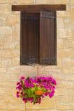 Του χωριού παράθυρο με τα λουλούδια στοκ εικόνες με δικαίωμα ελεύθερης χρήσης