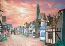 Του χωριού σκηνικό διανυσματική απεικόνιση