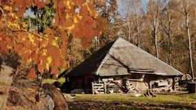 Του χωριού σπίτια κάτω από τα φύλλα των δέντρων φθινοπώρου Άχυρο στη σιταποθήκη ημέρα ηλιόλουστη Τοπίο φθινοπώρου φιλμ μικρού μήκους