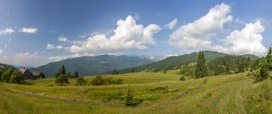 Του χωριού σπίτια στους λόφους με τα πράσινα λιβάδια στη θερινή ημέρα στοκ εικόνες