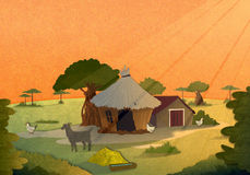 Του χωριού σπίτια στο ηλιοβασίλεμα Στοκ Φωτογραφία