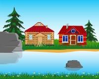 Του χωριού στην ξηρά λίμνη διανυσματική απεικόνιση