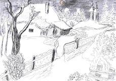 του χωριού χειμώνας σχε&delta Στοκ Εικόνα