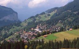 του χωριού wengen της Ελβετία& Στοκ Εικόνα