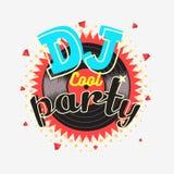 Του DJ δροσερό κόμματος σχέδιο αφισών χρωμάτων της δεκαετίας του '90 αισθητικό δονούμενο Στοκ εικόνα με δικαίωμα ελεύθερης χρήσης