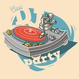 Του DJ δροσερό σχέδιο αφισών κόμματος αστείο με το βινυλίου αρχείο και ένα Gramop Στοκ εικόνα με δικαίωμα ελεύθερης χρήσης