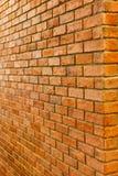Τούβλινη άποψη προοπτικής τοίχων του κενού κατασκευασμένου υποβάθρου τουβλότοιχος Στοκ φωτογραφία με δικαίωμα ελεύθερης χρήσης
