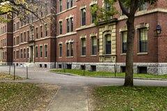 Τούβλινο πανεπιστημιακό κτήριο στο ναυπηγείο του Χάρβαρντ, Βοστώνη, ΗΠΑ στοκ εικόνα
