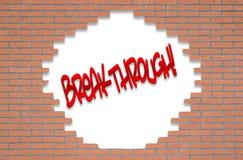 Τούβλινος τοίχος με τη ΣΗΜΑΝΤΙΚΗ ΑΝΑΚΆΛΥΨΗ κειμένων! Στοκ φωτογραφία με δικαίωμα ελεύθερης χρήσης