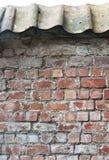 Τούβλινος τοίχος με το υλικό κατασκευής σκεπής Στοκ φωτογραφία με δικαίωμα ελεύθερης χρήσης
