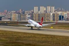 Τούρκος Boeing 737 αερογραμμών Στοκ Εικόνες